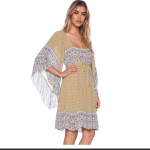 Free People Heart of Gold Angel Sleeve Dress s
